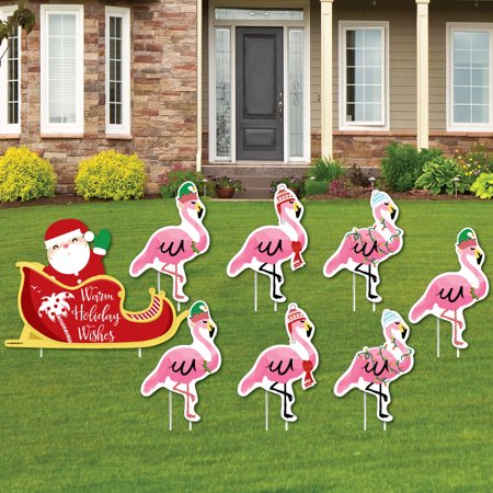 Flamingle Bells - Yard Sign & Outdoor Lawn Decorations - Tropical Flamingo Christmas Yard Signs - Set of 8 - Halloween Lawn Signs