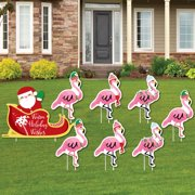 flamingle bells yard sign outdoor lawn decorations tropical flamingo christmas yard signs - Christmas Lawn Decorations Sale