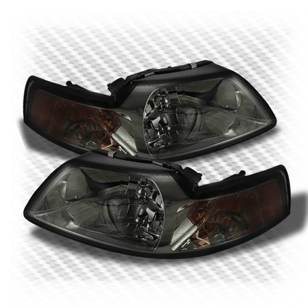 For Smoked 1999-2004 Ford Mustang 2in1 Headlights Smoke Head Lights  Lamp Set Pair Left+Right/2000 2001 2002 (2001 Ford Mustang Headlights)