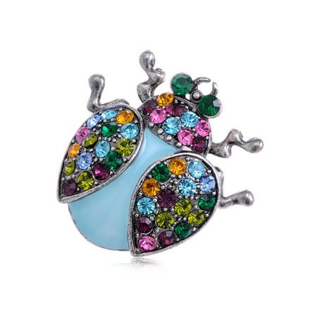 - Colorful Multi Crystal Rhinestone Enamel Lady Bug Fashion Jewelry Pin Brooch