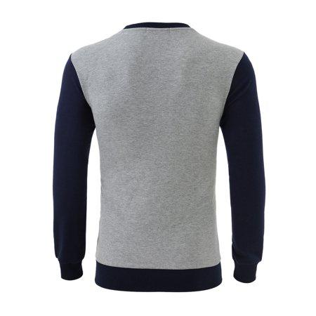 Allegra K Bloc Couleur Hommes Col Ras Du Cou Pull-over Manches Longues Garnitures Nervuré T-shirt - image 6 de 7