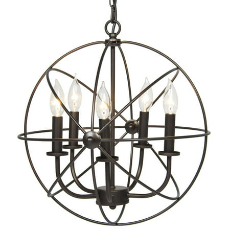 Industrial Vintage Lighting Ceiling Chandelier 5 Lights Metal Hanging Fixture (3 Light Petite Chandelier)