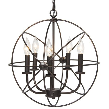 - Industrial Vintage Lighting Ceiling Chandelier 5 Lights Metal Hanging Fixture