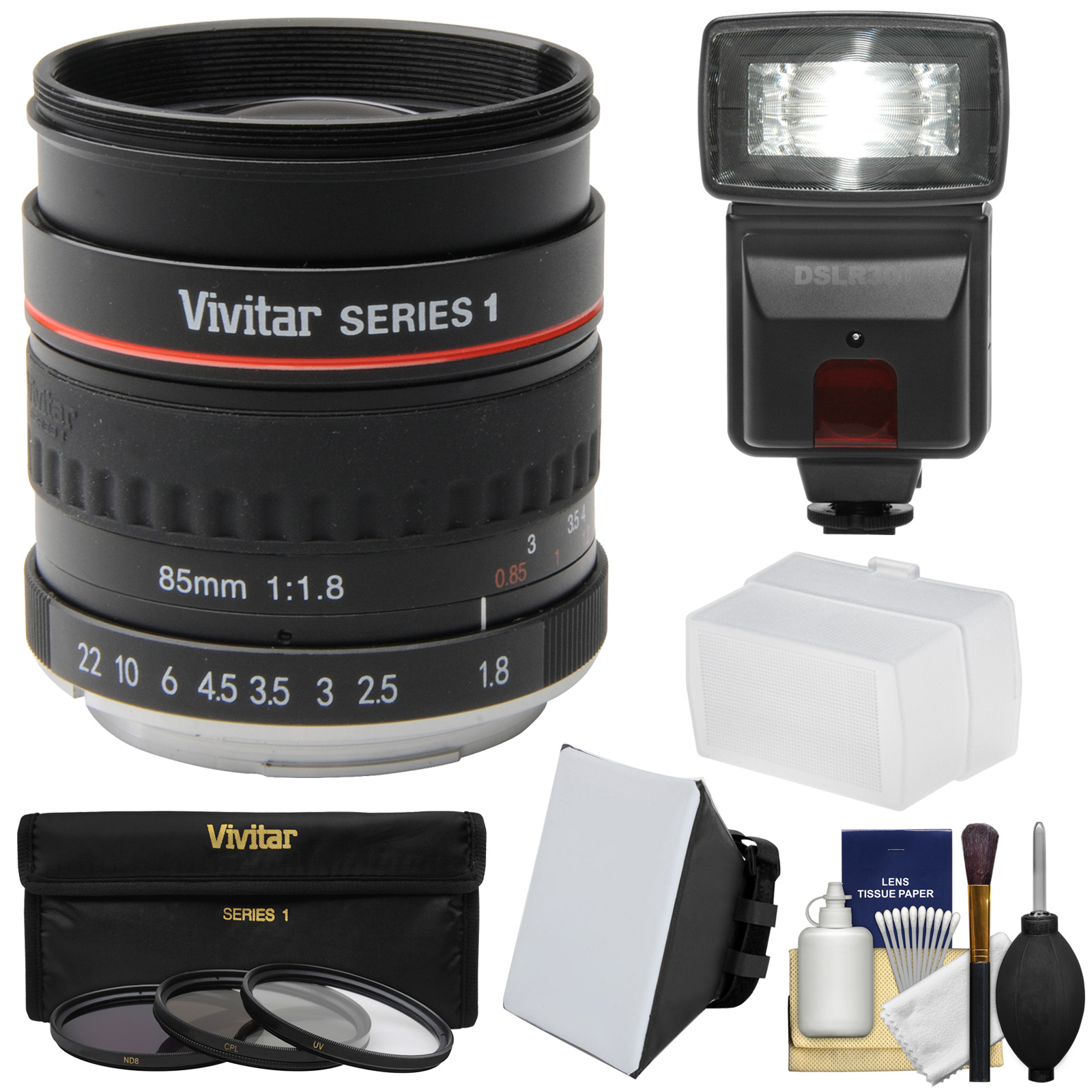 Vivitar 85mm f/1.8 Portrait Lens for Canon EOS Cameras with 3 UV/CPL/ND8 Filters + Flash + Soft Box & Diffuser + Kit