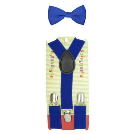 ROYAL BLUE Toddler Kids Boys Girls Baby Suspenders and Bow Tie Matching Set Wedding ()