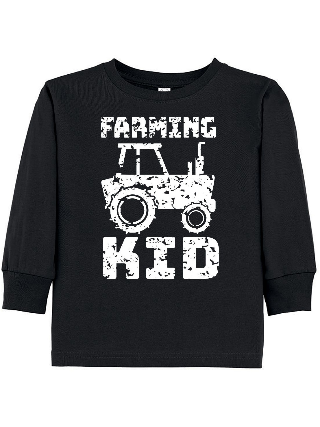 Farming Kid- tractor distressed look Toddler Long Sleeve T-Shirt