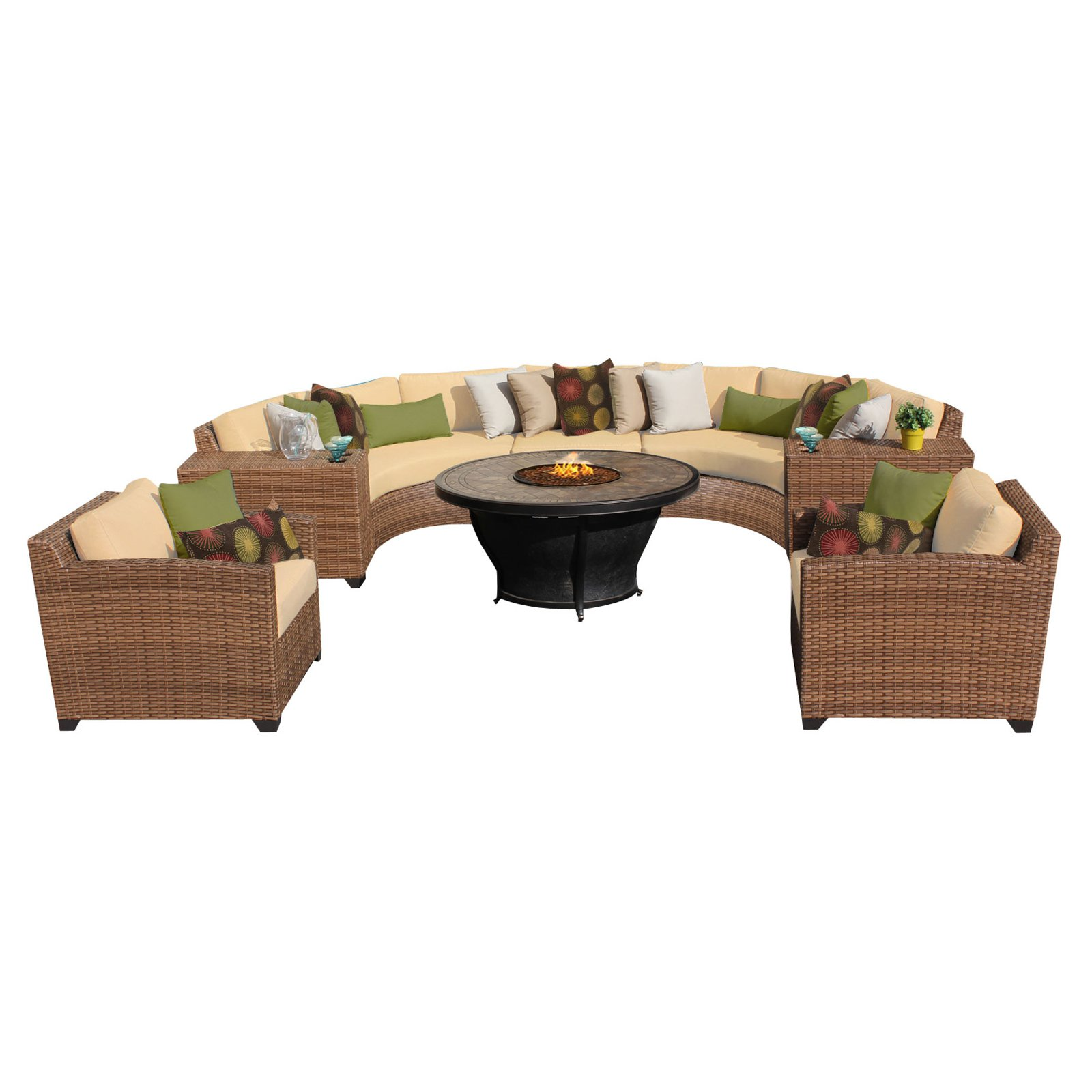 TK Classics Laguna Wicker 8 Piece Patio Conversation Set with Firepit Table and 2 Sets of Cushion Covers by TK Classics