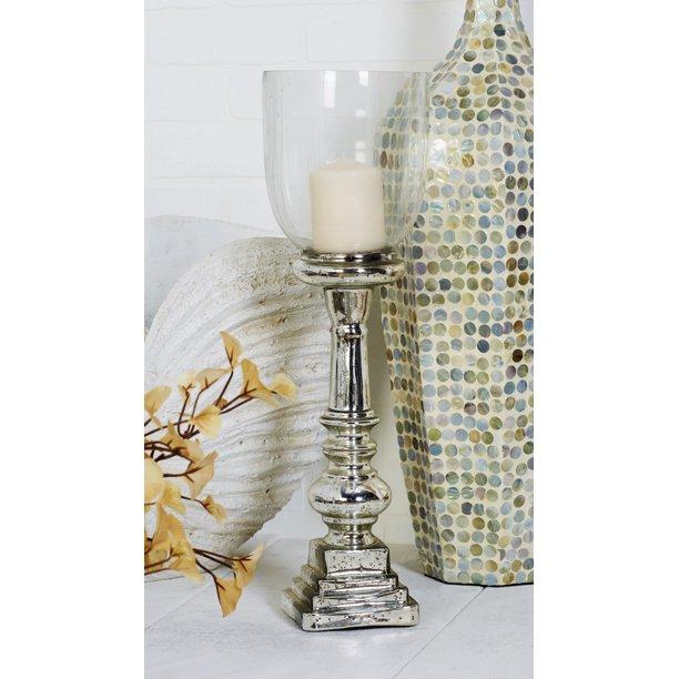 Decmode Traditional 22 Inch Silver Glass Hurricane Candle Holder Walmart Com Walmart Com