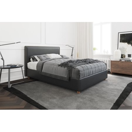 - Better Homes & Gardens Chambers Upholstered Platform Black Faux Leather Bed with Nailheads, Multiple Sizes