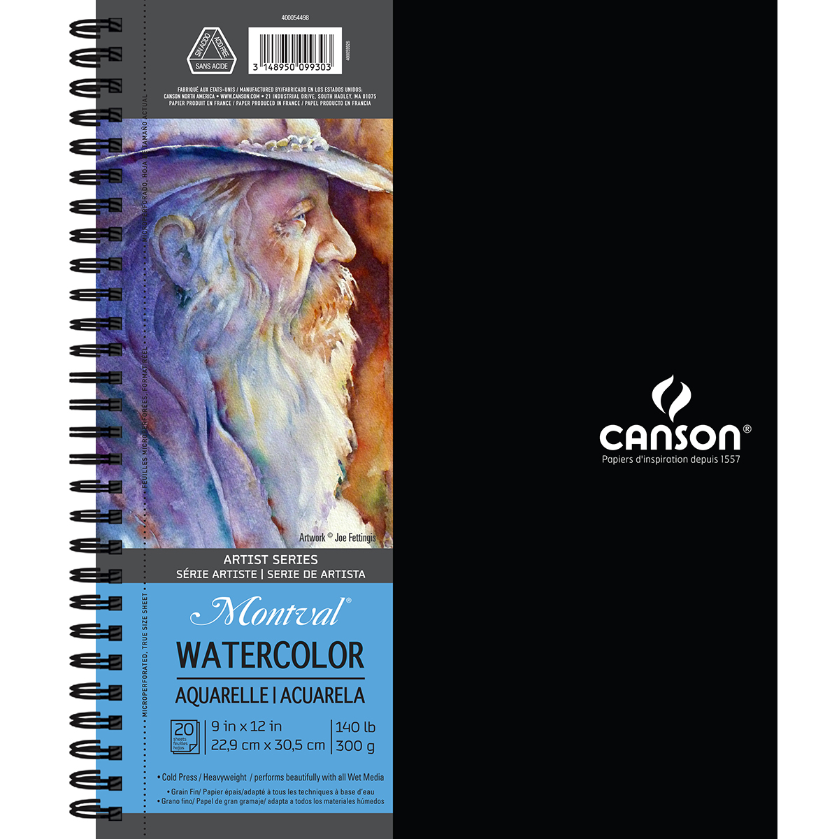 Canson Artist Series Watercolor Book, 9in x 12in, 20 Sheets/Pad