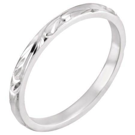 Platinum Hand Engraved Band - 14k White Gold 2mm Polished Hand Engraved Band Ring - Ring Size: 5 to 7