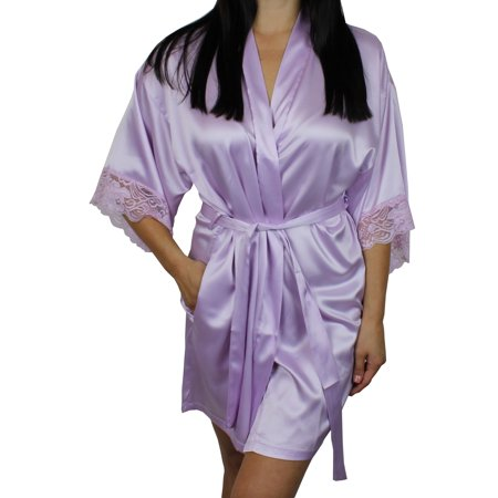 3984c4169b Ms Lovely - Women s Satin Kimono Bridesmaid Short Robe Lace Trim Sleeves -  Light Purple XS S - Walmart.com