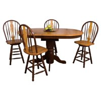 Sunset Trading 5 Piece Cafe Pedestal Butterfly Leaf Dining Set with Keyhole Barstools
