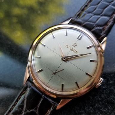 OMEGA Men's 18K Rose Gold cal.267 Manual Hand Wind Dress Watch c.1950s (Omega Watch Manual)