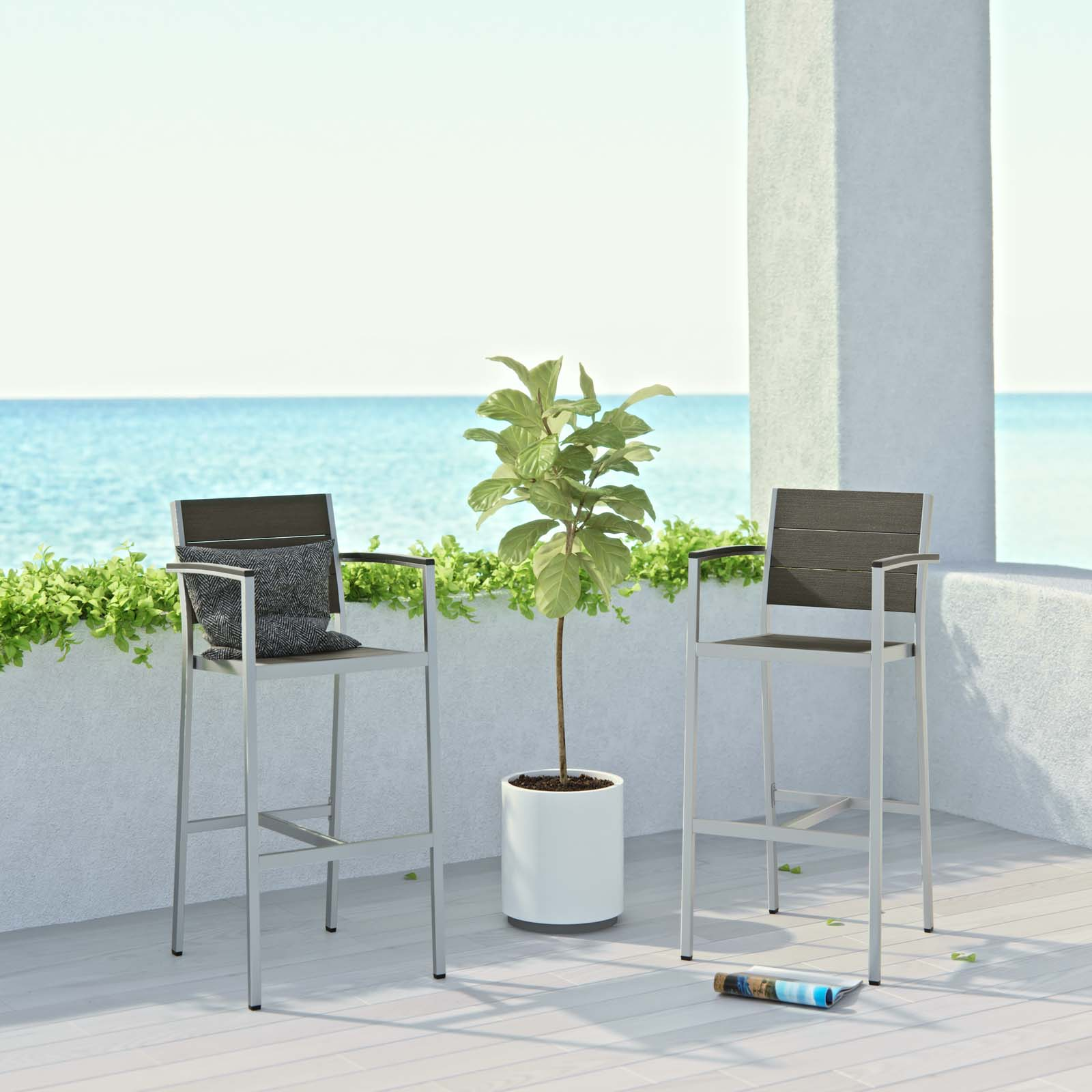 Modway Shore Outdoor Patio Aluminum Bar Stool Set of 2 in Silver Gray