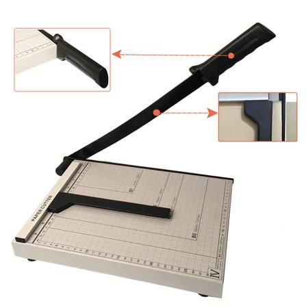 "Zimtown A4 Guillotine Paper Cutter, Adjustable 12"" Precise Desktop Manual Paper Cutter Trimmer, 10 Sheets Capacity, Heavy Duty Steel Base"
