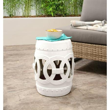 Outstanding Moroccan White Ceramic Garden Stool Set Of 2 Machost Co Dining Chair Design Ideas Machostcouk