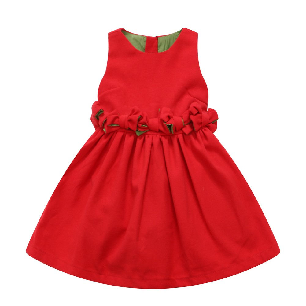Richie House Little Girls Red Bow Detailed Dress 7
