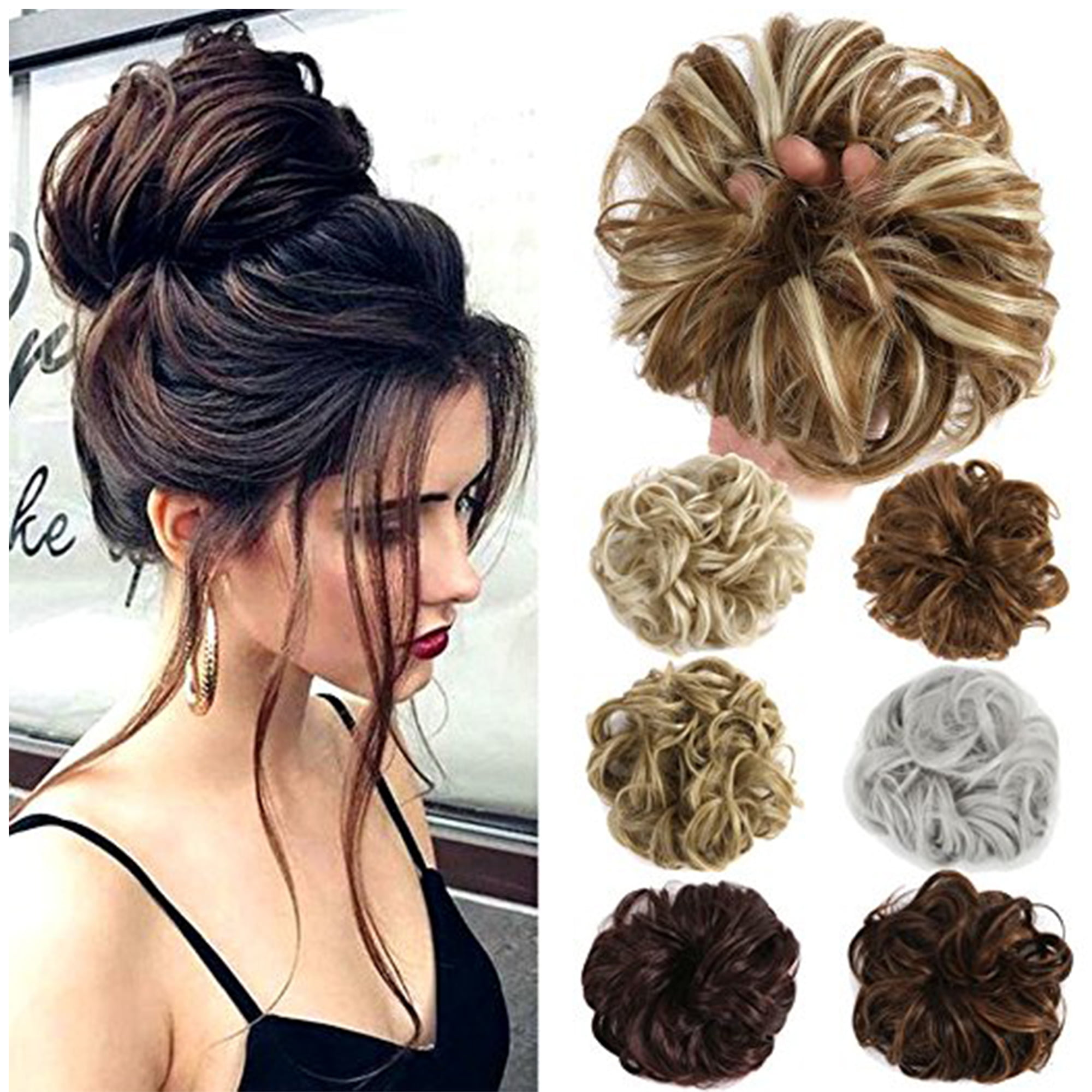 FLORATA Ponytail Buns Wrap Bun Chignon Hair Extensions Wavy Curly Wedding  Donut Hair Extensions Hairpiece Wig - Walmart.com