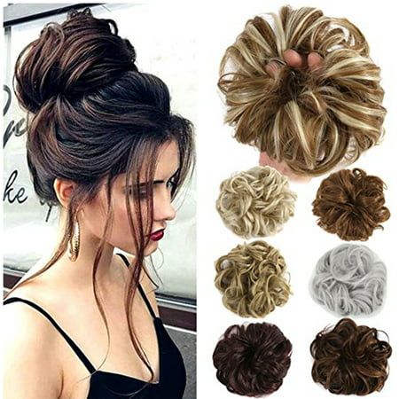 - FLORATA Ponytail Buns Wrap Bun Chignon Hair Extensions Wavy Curly Wedding Donut  Hair Extensions Hairpiece Wig