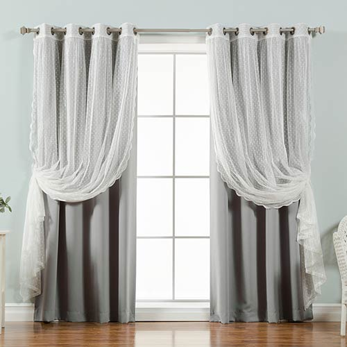 Grey Lace and Solid 52 x 96 In. Blackout Window Treatments, Set of Four by