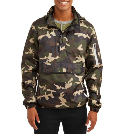 Hi Reflective Jacket - Men's 1/4 Zip Lightweight Camo Print Front Pouch Jacket With Reflective Trim, Up To Size 2Xl