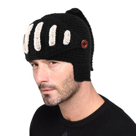 Beanie Hat-Fitbest Beanie Hat Woolen Rome Knights Knit Cap Unisex Beanie Fashionable Halloween Hat for Men and Women with Removable Mask