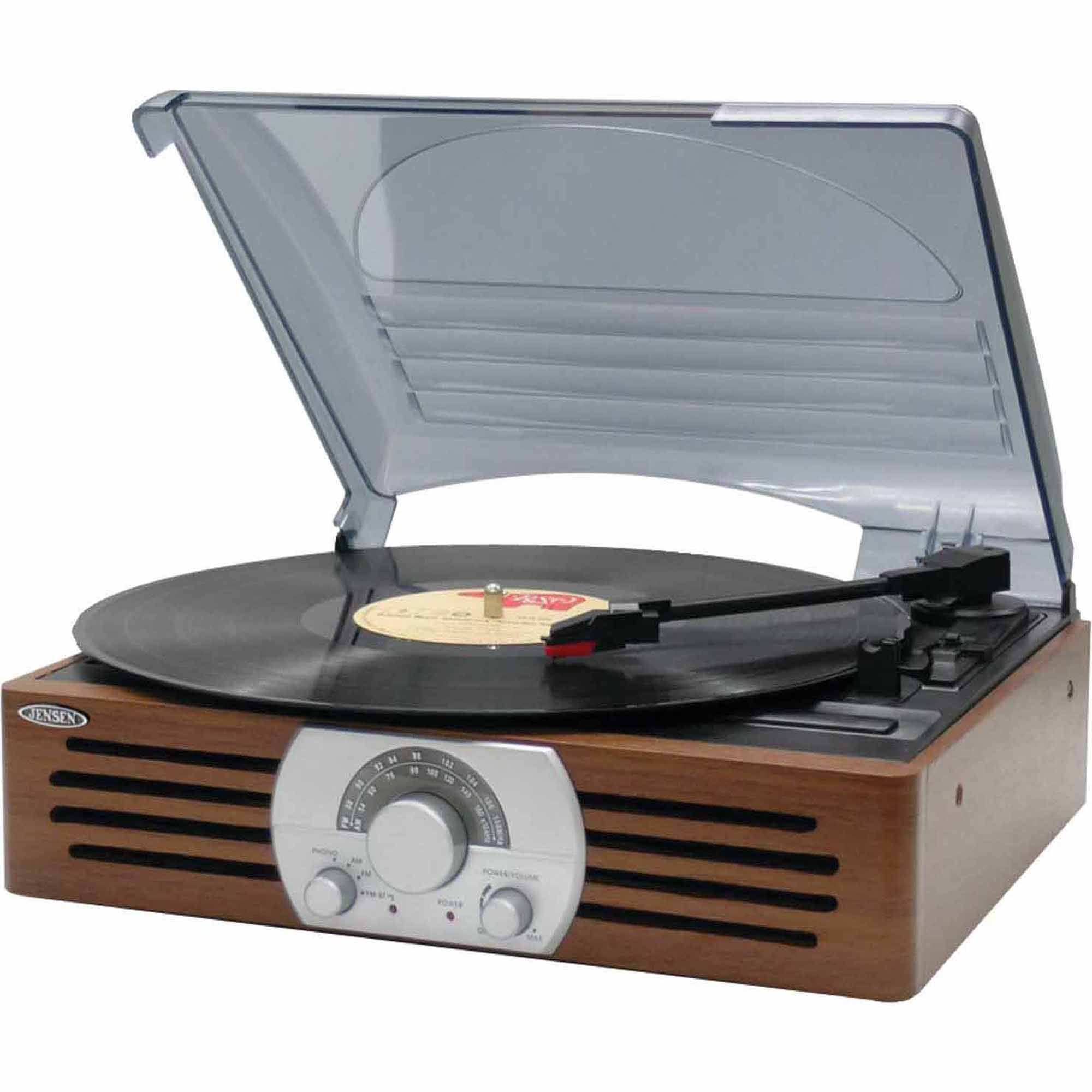Jensen JTA 222 3 Speed Stereo Turntable With AM/FM Stereo Radio    Walmart.com