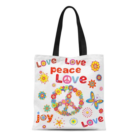 ASHLEIGH Canvas Tote Bag Colorful Hippy Flower Power Party 60S 70S Peace Seventies Durable Reusable Shopping Shoulder Grocery Bag