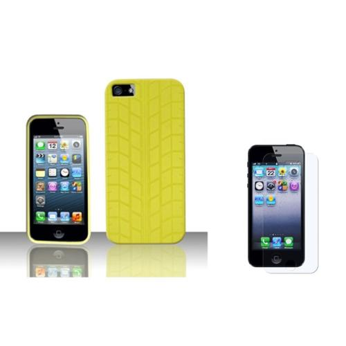 Insten TPU Cover Case + Screen Protector For Apple iPhone SE 5/5S - Yellow