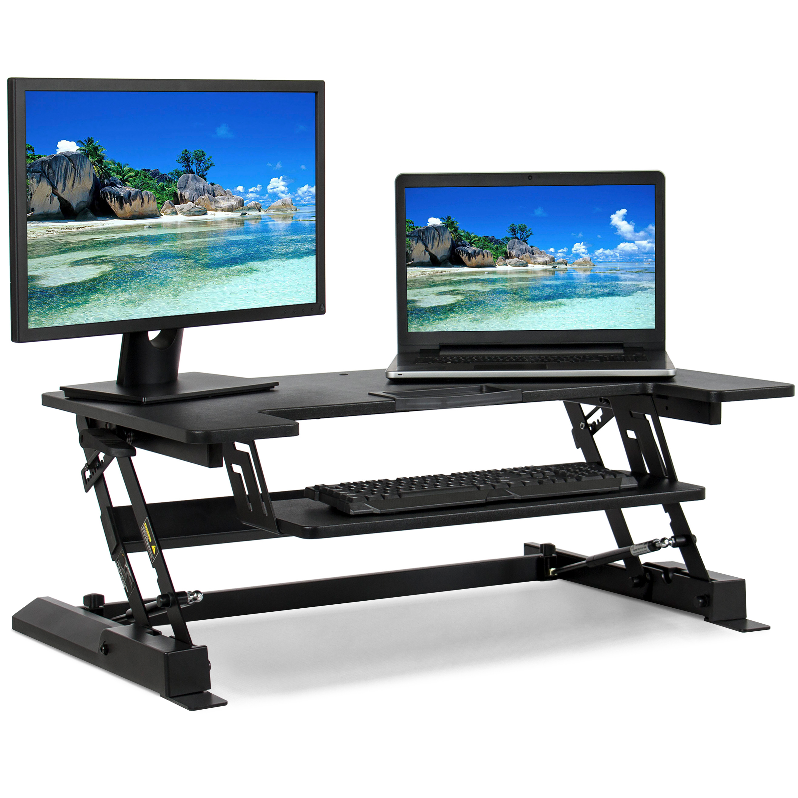 Best Choice Products 36in Height Adjustable Standing Tabletop Desk Sit to Stand Workstation Monitor Riser w/ Gas Spring