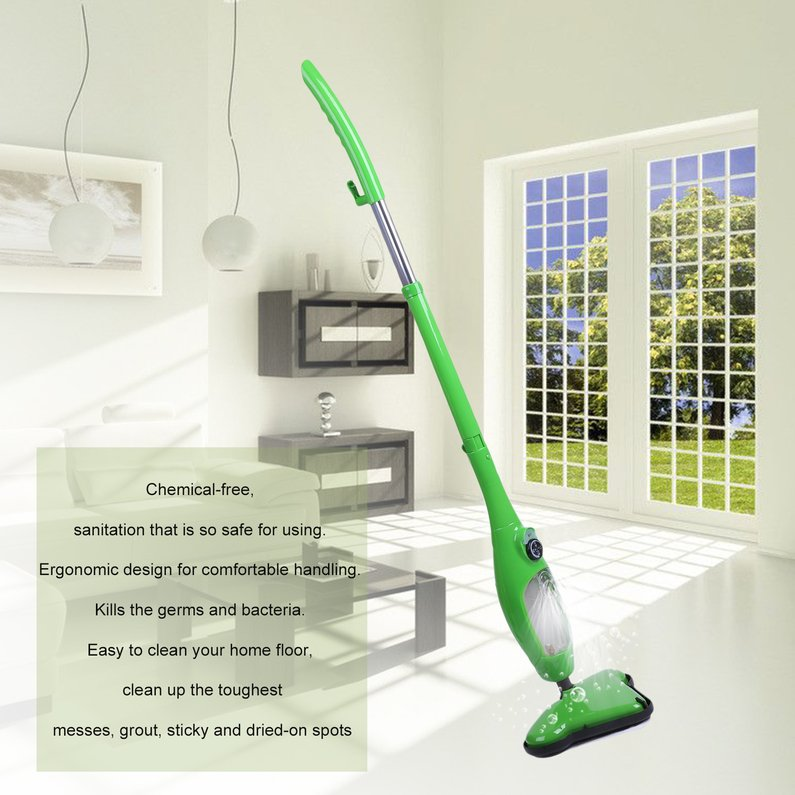 Hot Sale Upgraded Home Floor Steam Vacuum Cleaner Cleaning Sweeper Steamer Steam Pockets Mop(Green)