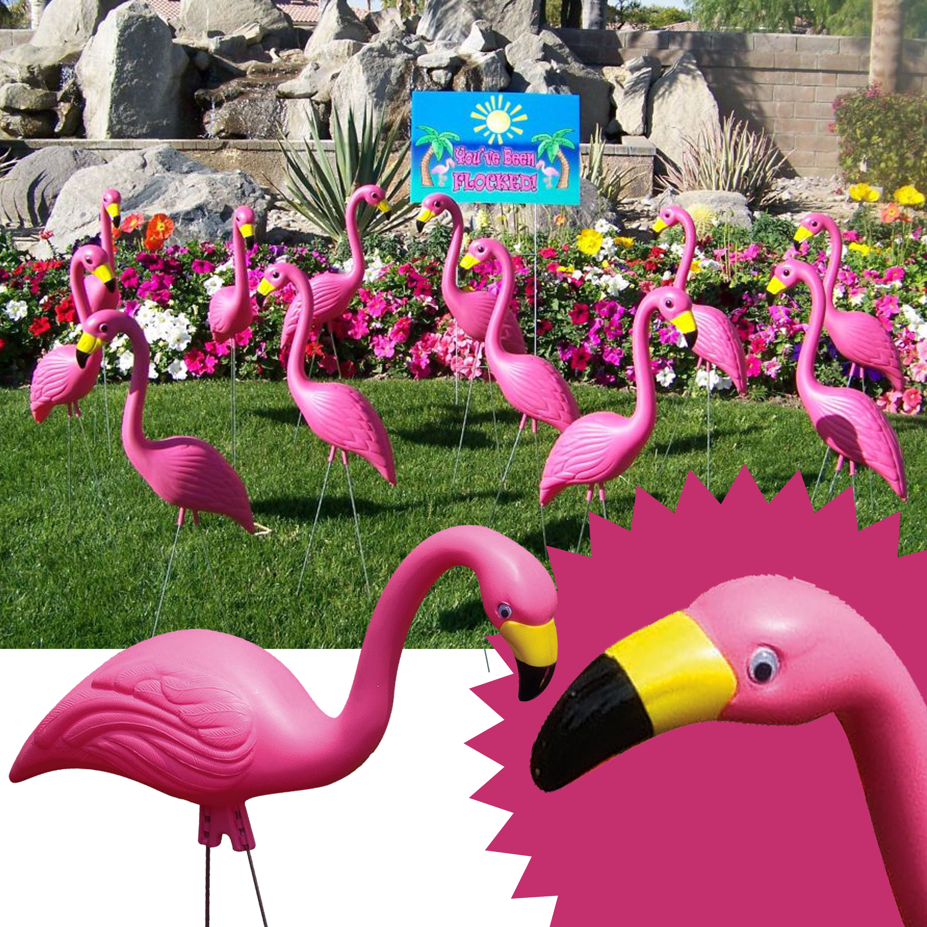 "Bloem Pink Flamingo 25"" Party Lawn Statue (10-Pack)"