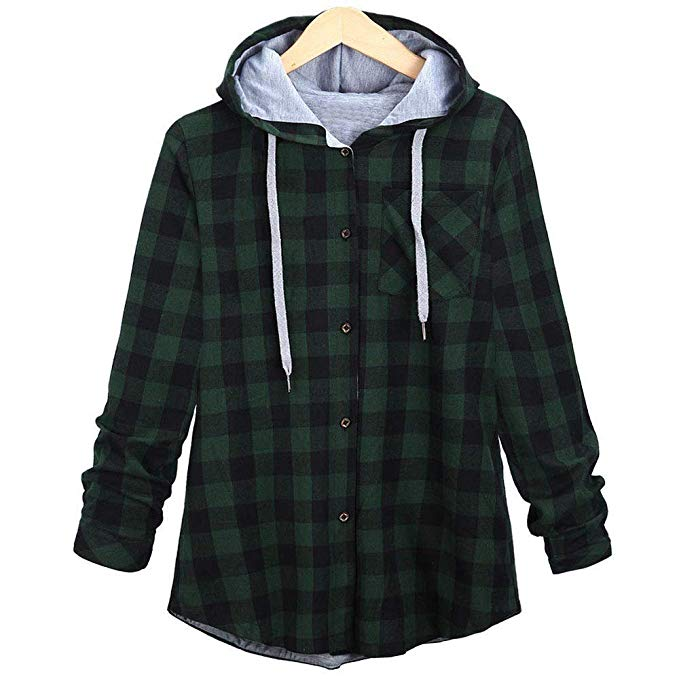 9572111ccfd4d VISTA - Women s Plus Size Autumn Spring Casual Long Sleeve Plaid Hooded  Cardigan Jacket with Pocket - Walmart.com