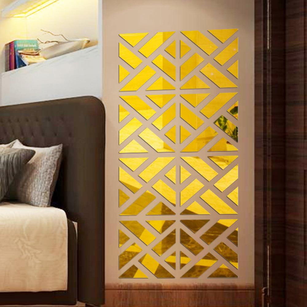 32Pcs 3D Mirror Acrylic Wall Sticker DIY Art Vinyl Decal Home Decor Removable BK