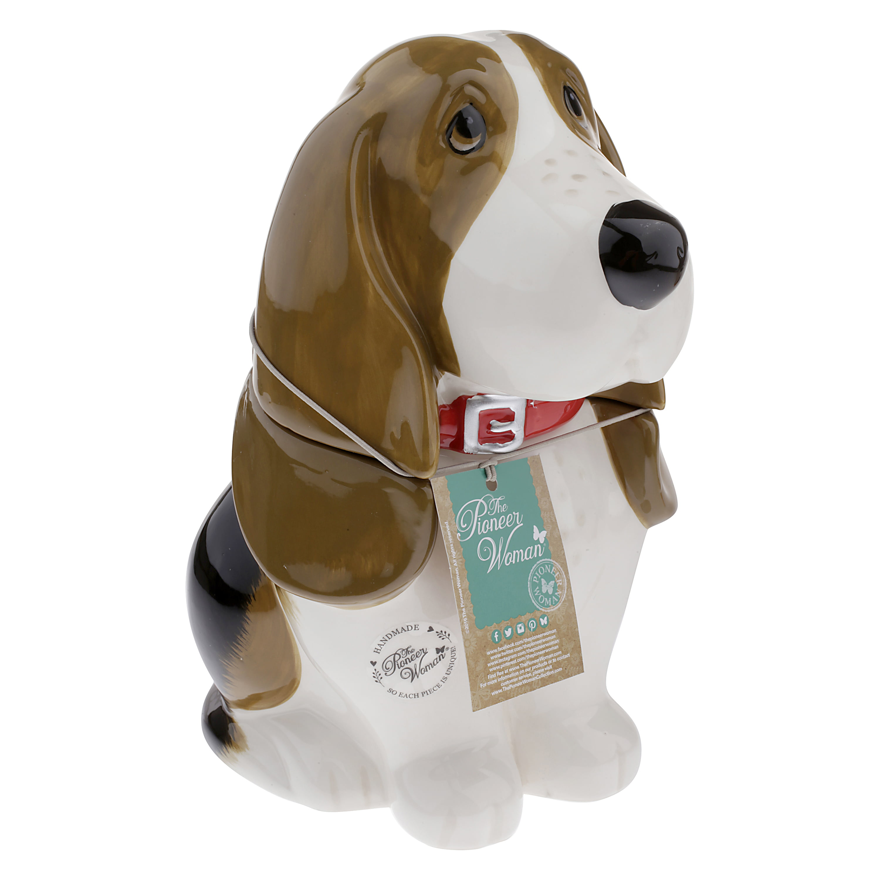 Click here to buy Pioneer Woman 11 inch Basset Hound Cookie Jar by Gibson Oveseas Inc..