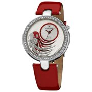 Akribos XXIV  Women's Water-resistant Parrot Dial Leather Red Strap Watch