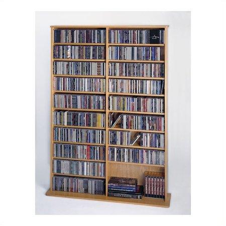 Leslie Dame 64  Double Cd Dvd Wall Media Storage Rack In Oak