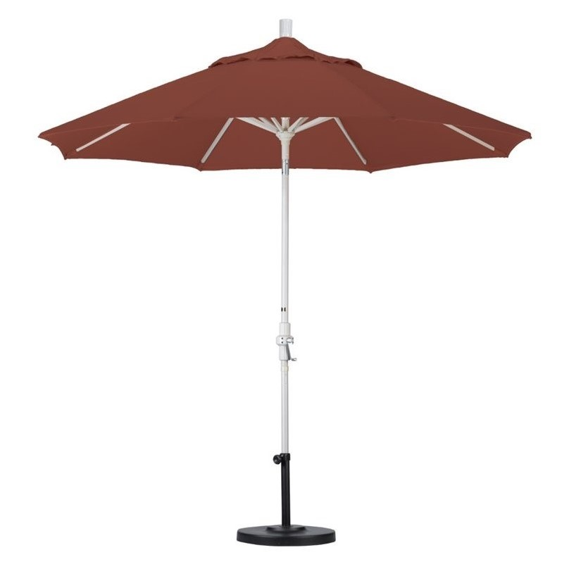 California Umbrella 9' Market Patio Umbrella with Collar Tilt in Henna
