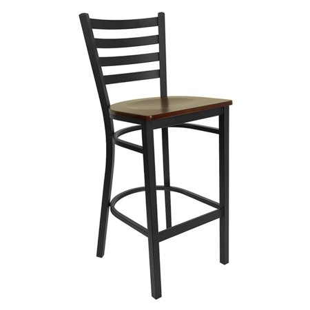 Pleasing Metal Ladder Back Bar Stool 29 Black And Mahogany Forskolin Free Trial Chair Design Images Forskolin Free Trialorg