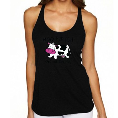 Moo Bitch Get Out The Hay Funny Graphic Lady Tank Top Black Tee
