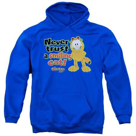 GARFIELD/SMILING-ADULT PULL-OVER HOODIE-ROYAL BLUE-LG