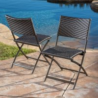 2-Set Christopher Knight Home El Paso Wicker Patio Folding Chairs
