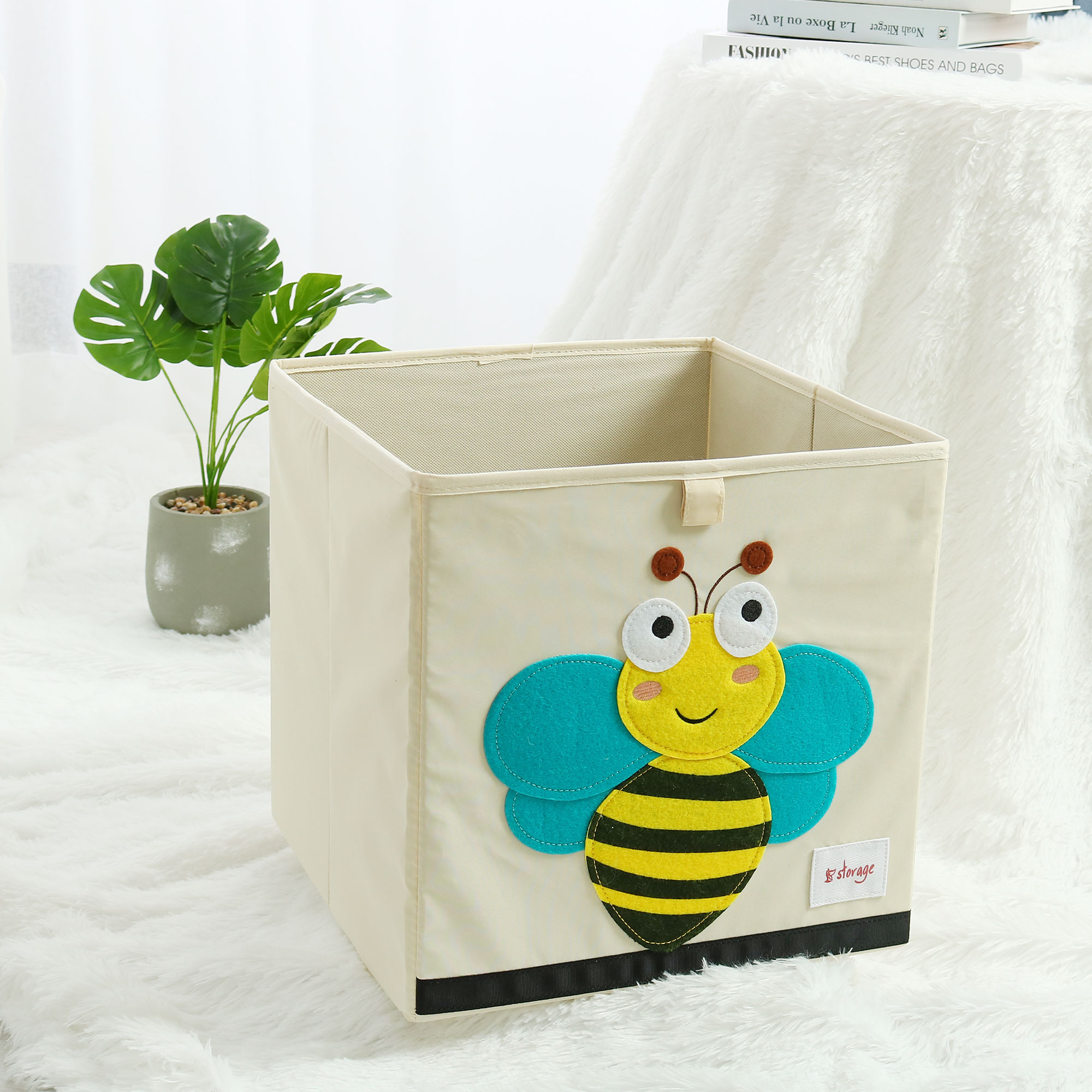 Collapsible Cartoon Fabric Storage Bins Cubes Basket Toy Box for Kids