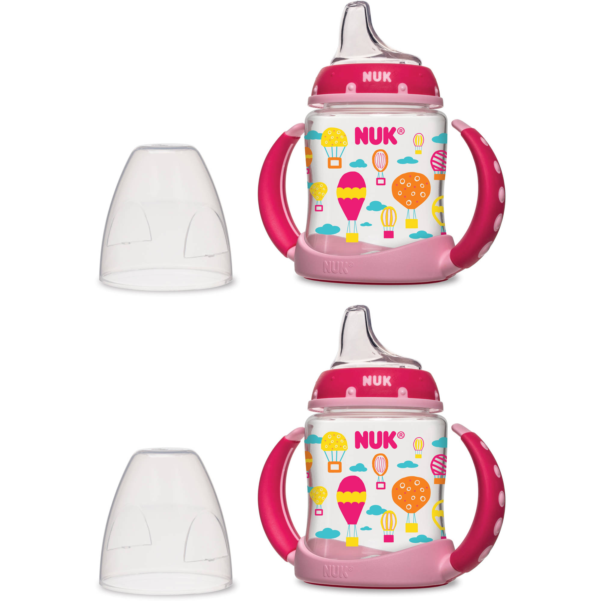 NUK 5-oz Learner Cups, Silicone Spout, Set of 2, Girl Design, BPA-Free