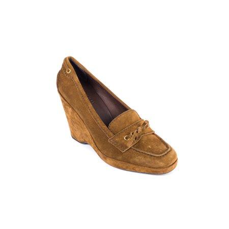Car Shoe By Prada Brown Suede Wedge Heels