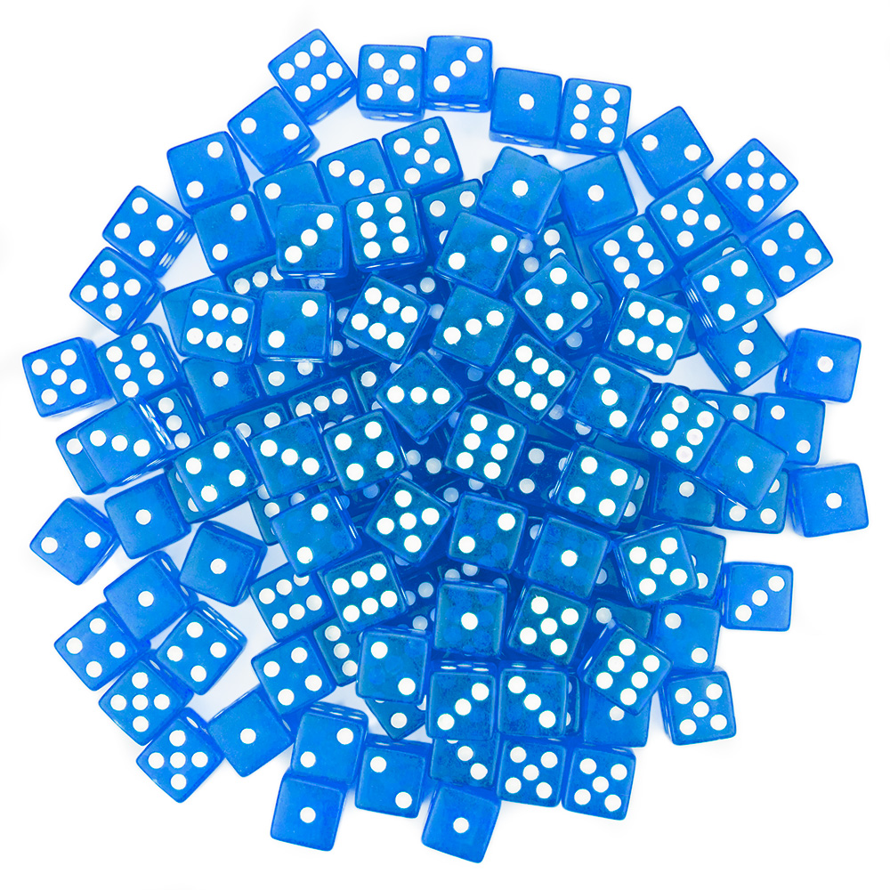 """100 Blue Dice - 16 mm"""