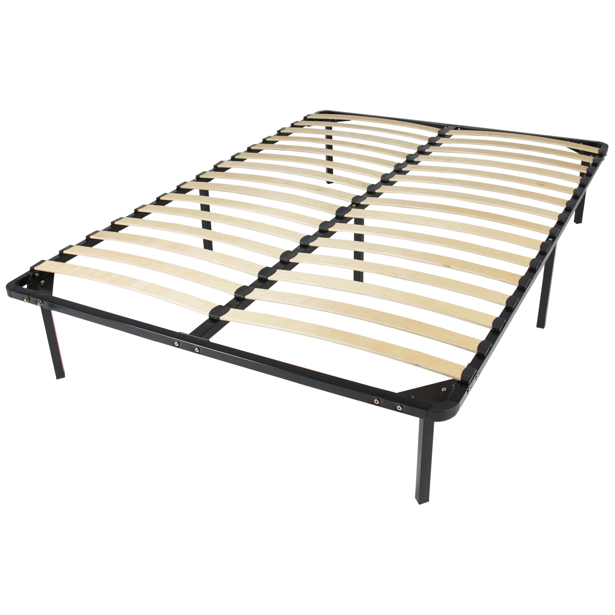 Wooden Slat Metal Bed Frame Wood Platform Bedroom Mattress Foundation Queen by