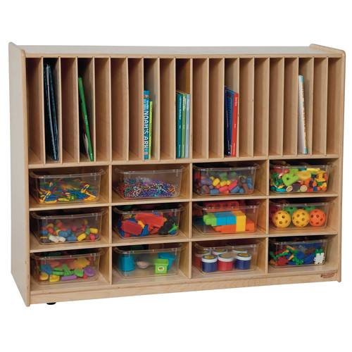 Wood Designs Tip-Me-Not Portfolio 32 Compartment Cubby with Casters