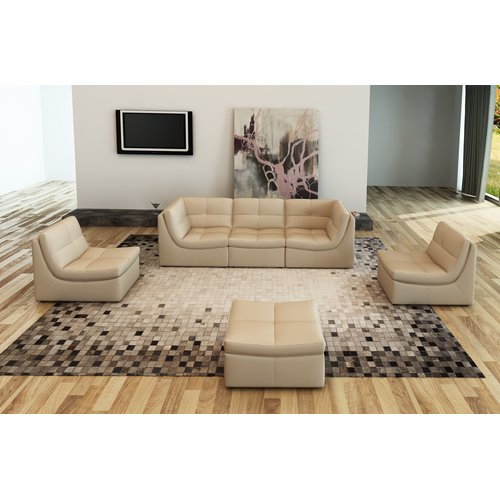 Hokku Designs Monaco Leather Modular Sectional with Ottoman by